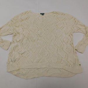 Eddie Bauer 2XL White Cream Crewneck Sweater  Cott